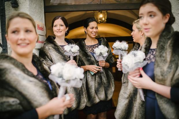 winter bridesmaids navy dress faux fur