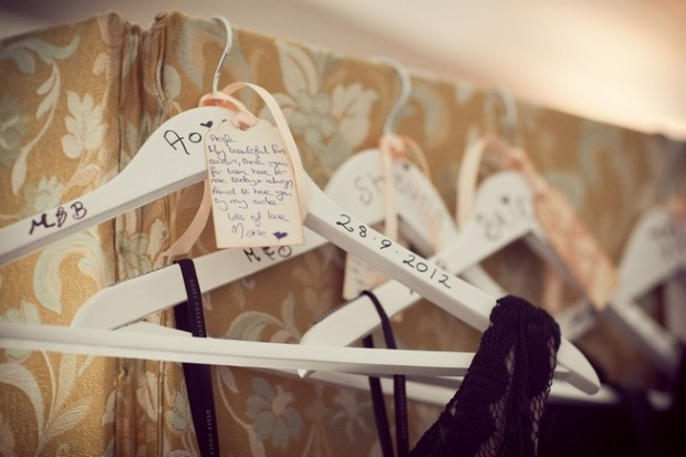 personalised handwritten bridesmaid dress hangers wedding