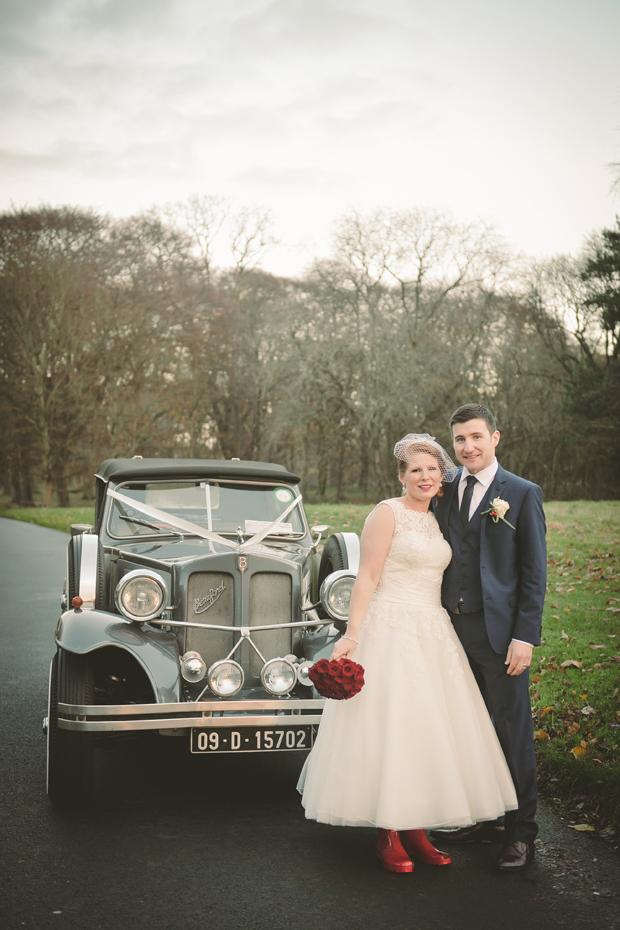 charlene-stephen-wedding-bride-wellies-vintage-car