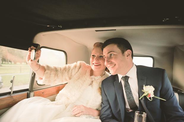 charlene-stephen-wedding-getaway-car-selfie