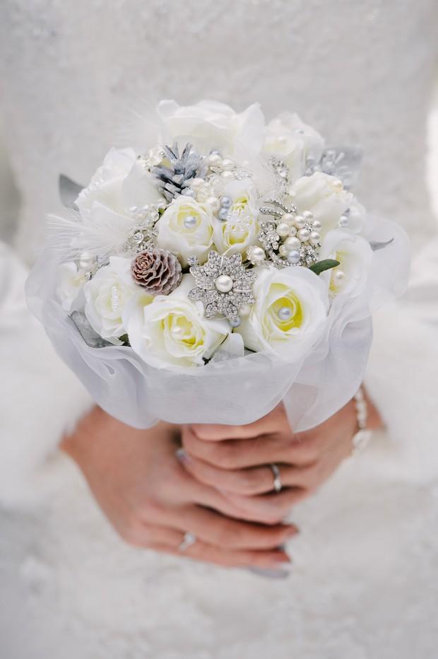 duck egg blue silver winter wedding bouquet