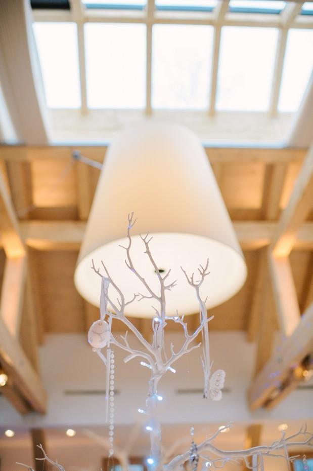 white winter crystal table decor wedding