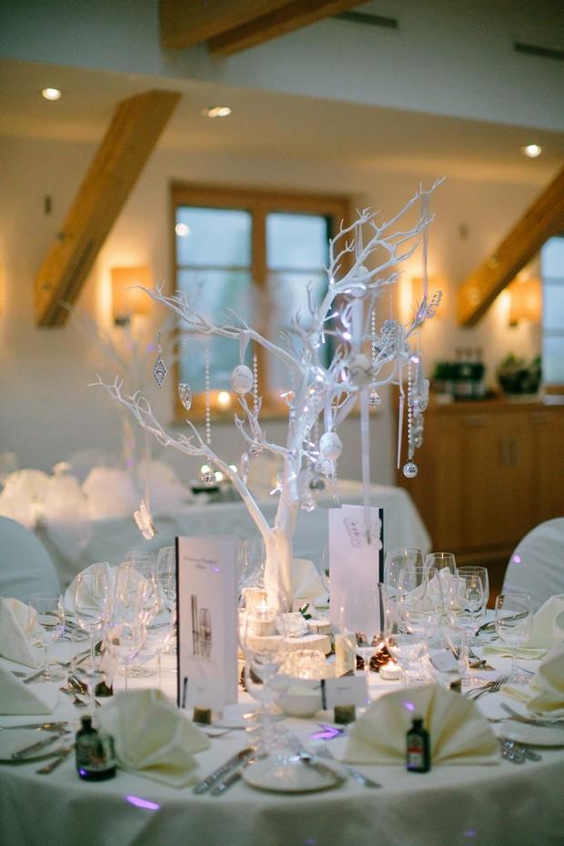 white tree christmas wedding table decor