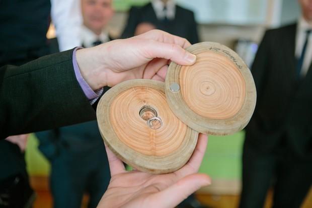 wooden tree wedding ring holder