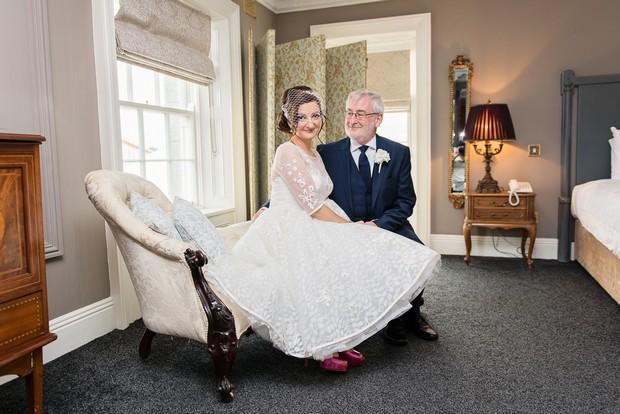 Bride in tea length wedding dress at Clonabreany House - weddingsonline