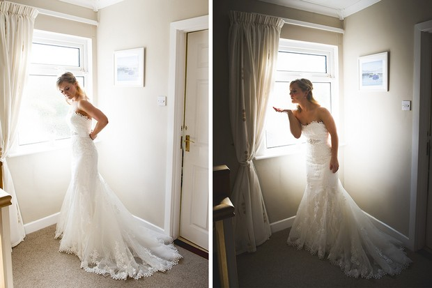 bride-putting-on-wedding-dress