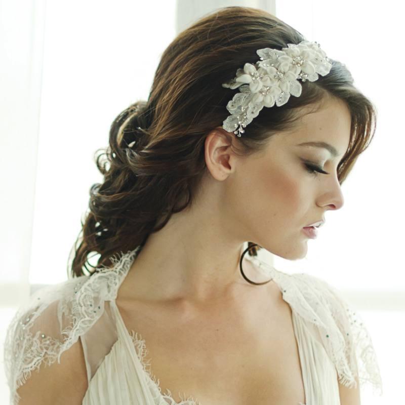 Fabric Flowers Wedding Hairband Erin Bijouz