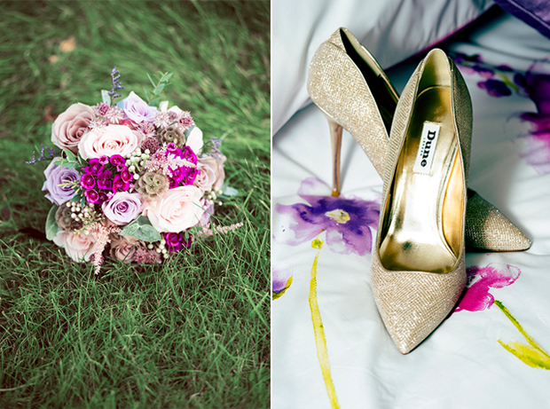 gold-wedding-shoes-pretty-pink-purple-bridal-bouquet