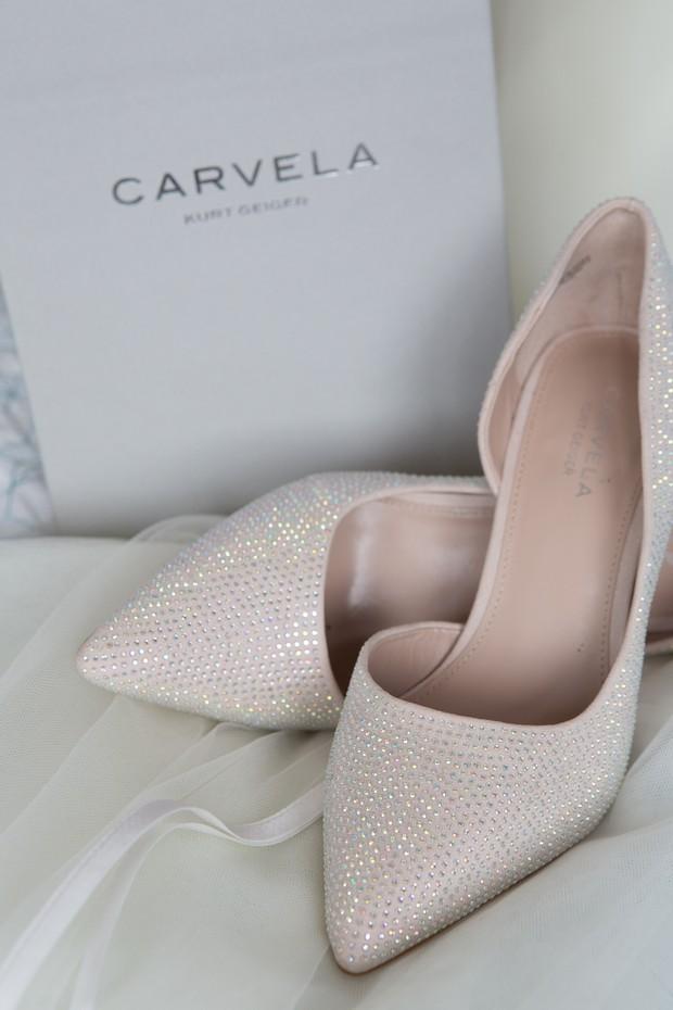 cream sparkly carvela wedding shoes