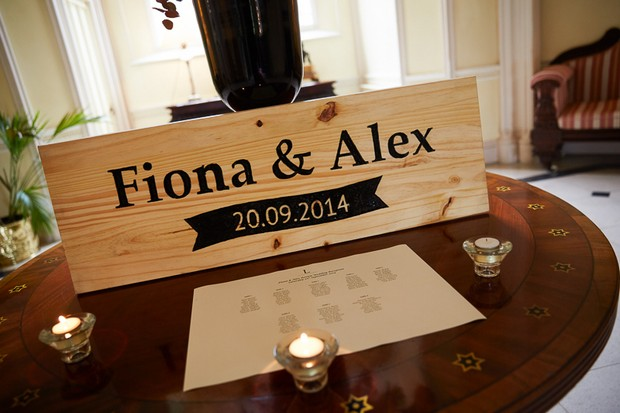 Personalised wooden wedding sign with name and date