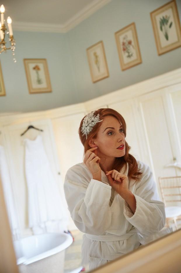 Real bride in Richard Designs Wedding Headpiece