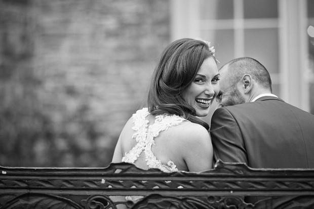 Black white wedding portrait photograph bride groom