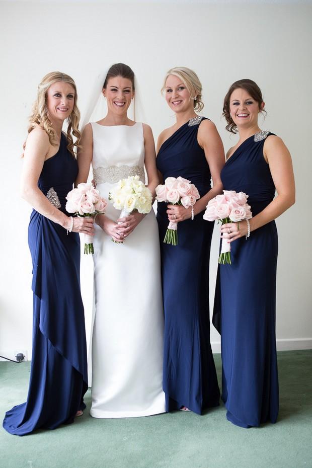 full length navy bridesmaid dresses