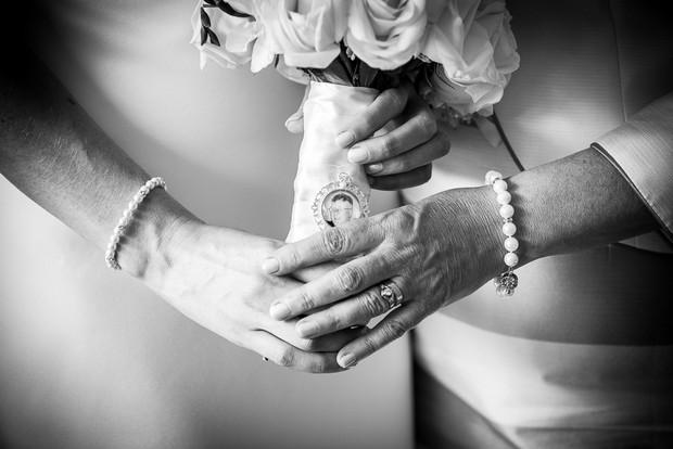wedding bouquet with photo locket