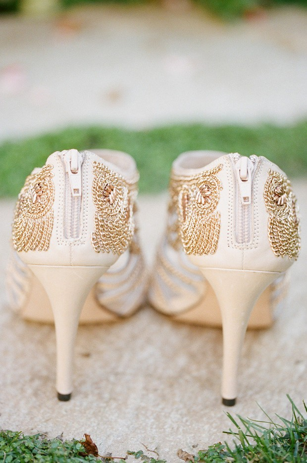 gold chain back embellished stylish wedding shoes