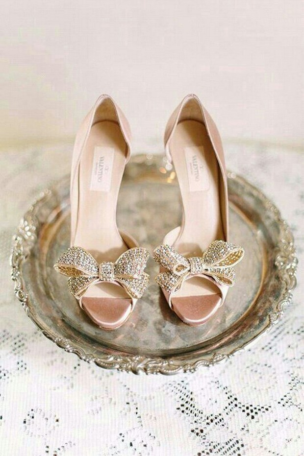 gold sequin valentino couture bow d'orsay pump wedding shoe