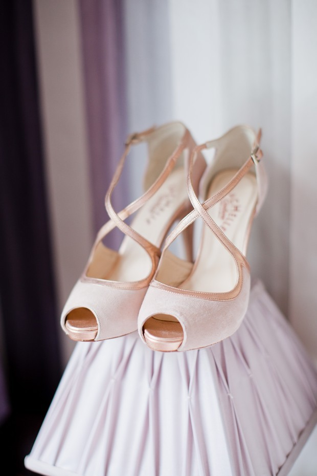 pink rose gold 20s style wedding shoes