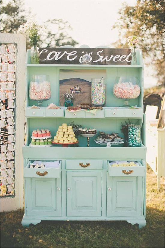 Table Display Ideas find this pin and more on table display ideas Vintage_dresser_wedding_dessert_table_display_case