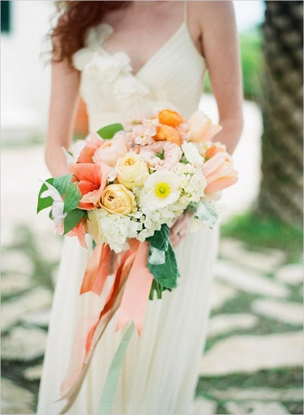 Coral-Ribbon-Wedding-Bouquet