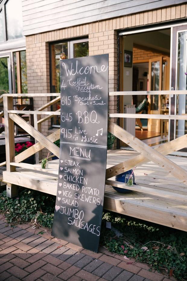 BBQ menu sign wedding