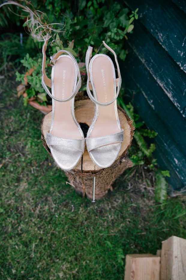 Silver Badgley Mischka wedding shoes
