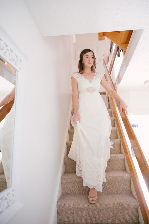 Bride in Claire Pettibone wedding dress