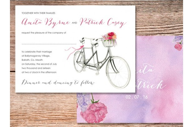 Bicycle Themed Wedding Invitations Spring Summer Leberrypress