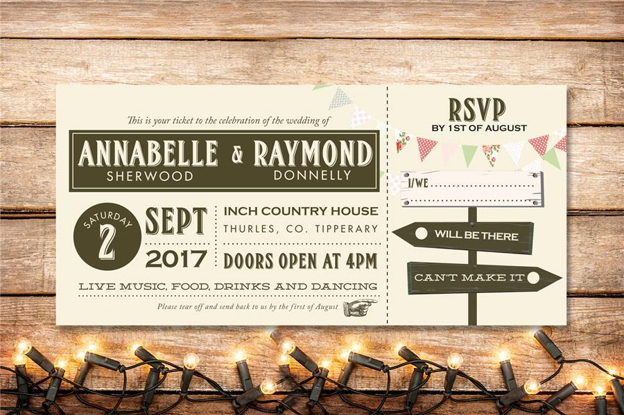 festival_style_ticket_Wedding_invitation_ireland_appleberry