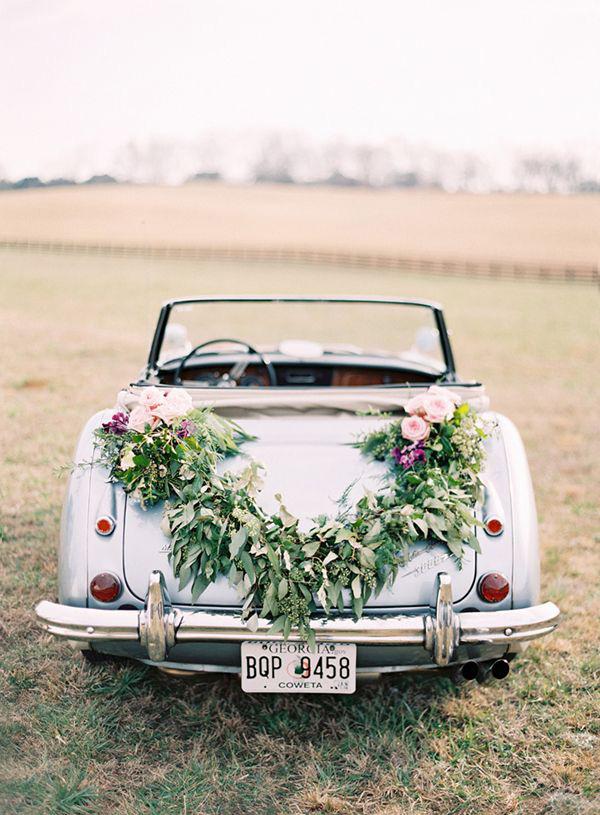 Fl Garland Just Married Wedding Car