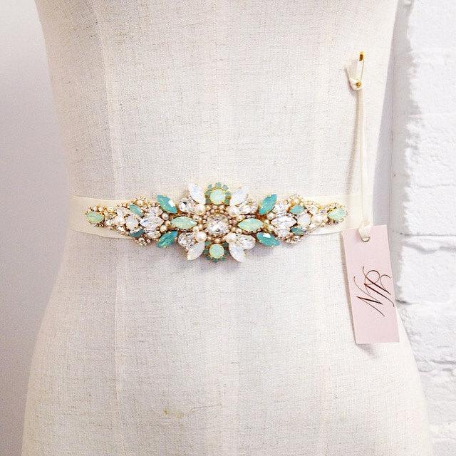 11 seriously stylish bridal sashes belts weddingsonline colour crystal bridal belt opalcrystalbridalweddingbeltsash solutioingenieria Choice Image