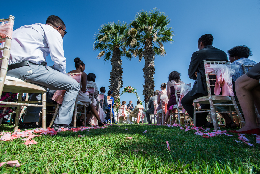 Portuguese wedding ceremony outdoors