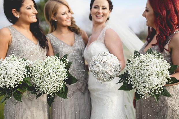Bridesmaids Pisarro Silver Beaded Dresses Winter Wonderland