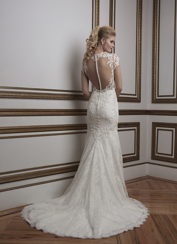 Justin Alexander Sincerity Style 8796 Illusion Sheer Back