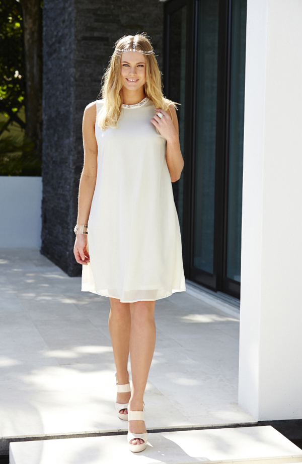 Plus Size Dress Simply Be White Embellished