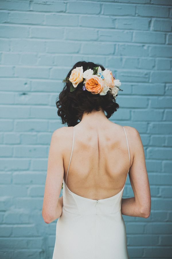 short-wedding-hairdo-with-floral-crown