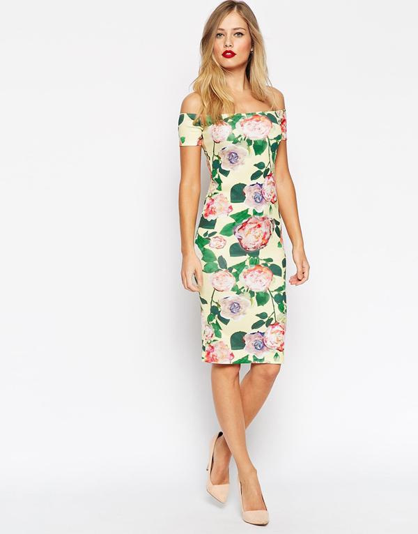 wedding-guest-fashion-floral-off-the-shoulder-dress