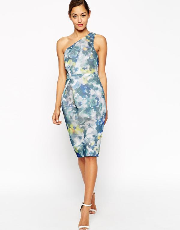 wedding-guest-fashion-one-shoulder-floral-dress