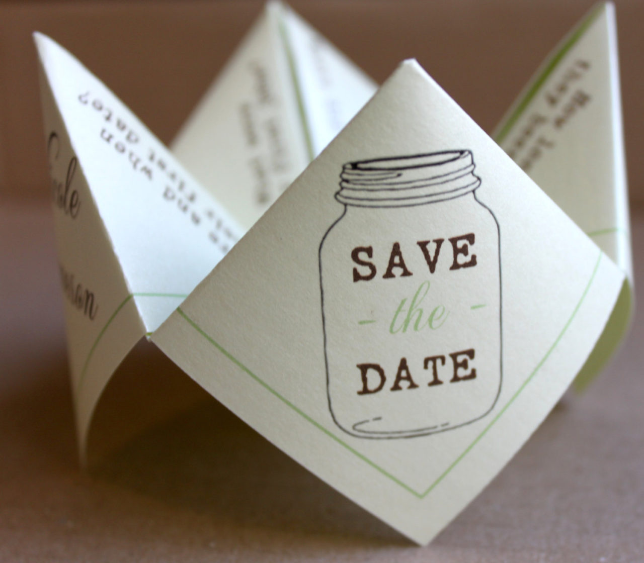 15 brilliantly creative save the date ideas weddingsonline cootie catcher save the date mason junglespirit Choice Image
