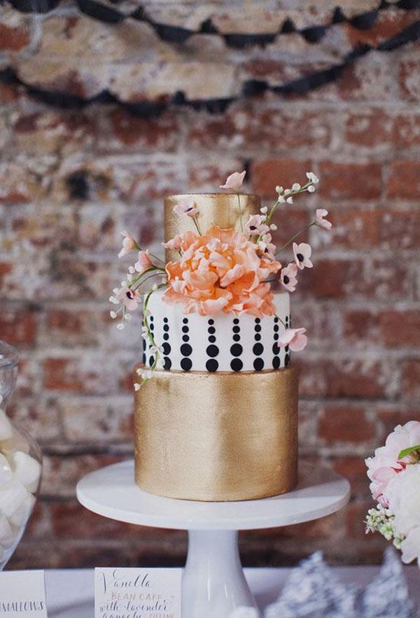 gold-and-polka-dot-wedding-cake