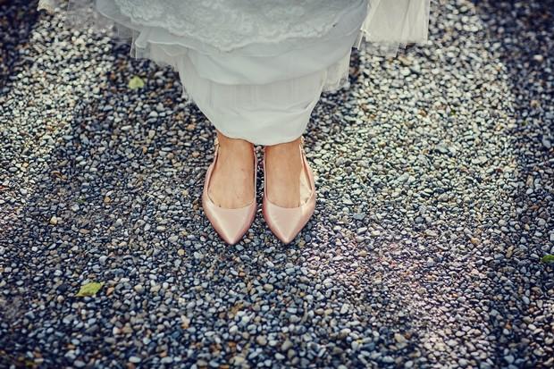 peach-sling-back-flat-wedding-shoes