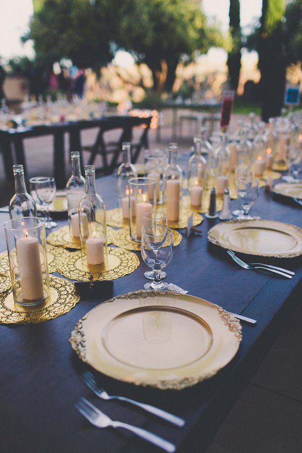 spray-painted-gold-doilies-wedding-table-runner
