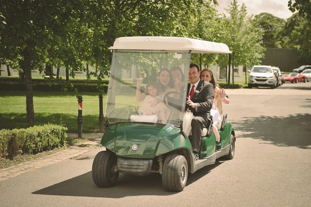 bridal-party-having-fun-golf-cart