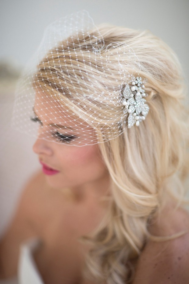 Bride With Birdcage Veil And Diamante Hairpiece