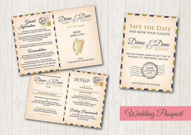 30 fabulous wedding invitations to suit every style of couple destination wedding save the date passport card stopboris Choice Image