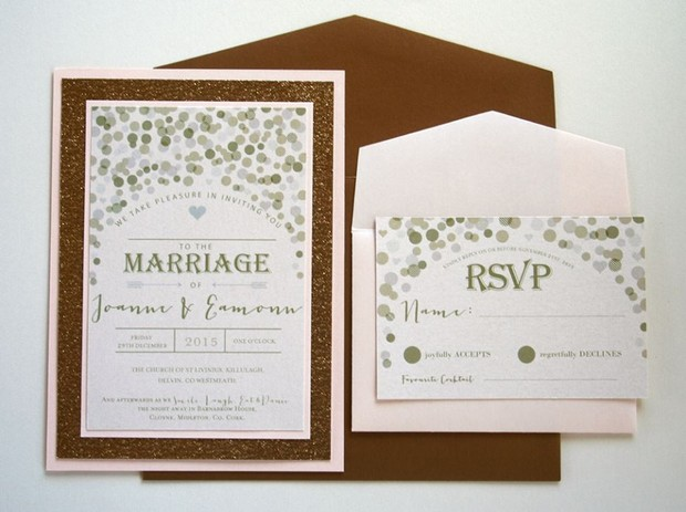 gold-and-polka-dot-wedding-invites-steph's-personalised-cards