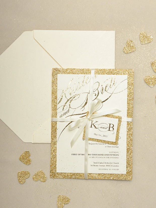30 fabulous wedding invitations to suit every style of couple gold glitter wedding invite for love polka dots stopboris Choice Image