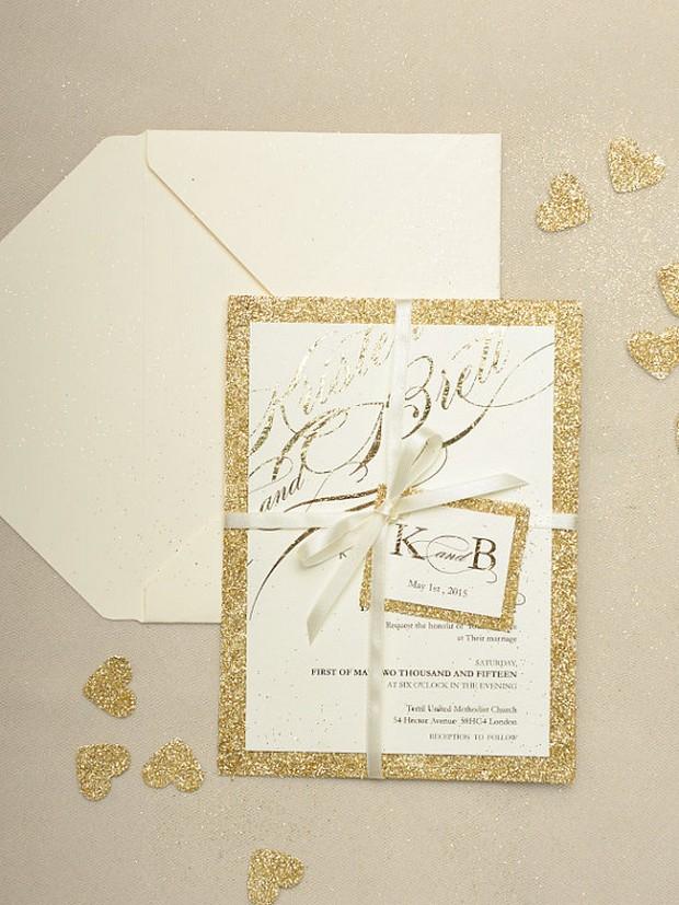 gold-glitter-wedding-invite-for-love-polka-dots
