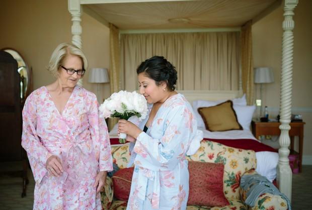 mother-bride-floral-robes-wedding-morning-hotel-room