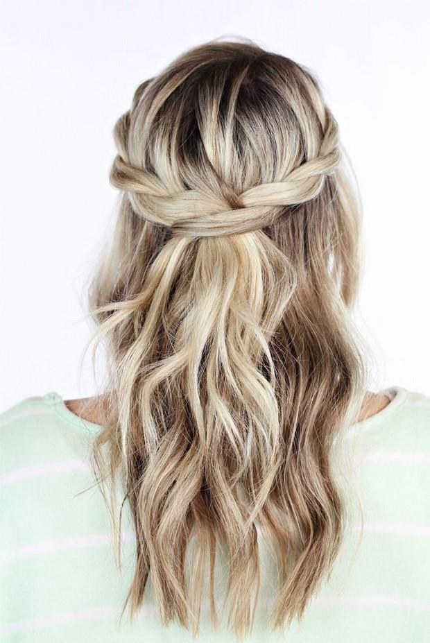 20 stunning summer wedding hairstyles for modern brides weddingsonline twisted crown summer wedding hair styles down junglespirit Choice Image