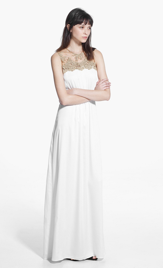 white-bridesmaid-dress-with-embellished-gold-neckline-mango